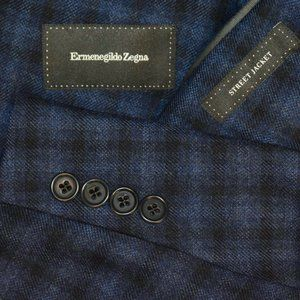 $2195 48 Tailored Ermenegildo Zegna Blue blazer